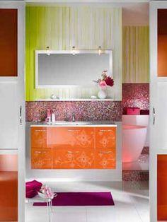 Lush Bathroom, check out those tiles!Image detail for -Girly Bathroom Furniture Design from Delpha - Home Interior Design Girl Bathroom Decor, Bathroom Furniture Design, Bathroom Colors, Modern Bathroom Design, Bathroom Interior, Colorful Bathroom, Bathroom Designs, Bathroom Ideas, Bathroom Inspiration