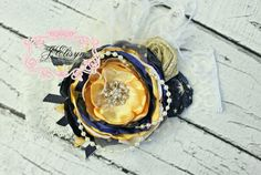 navy blue, mustard yellow, and yellow handmade couture headband -MTM our Christmas dress on Etsy, $25.00