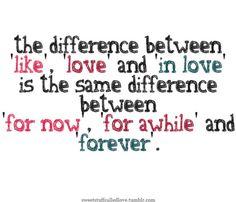 like, love, in love