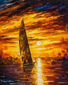 "Fast Sail - Palette Knife Oil Painting On Canvas By Leonid Afremov - 30""X24"" (75cm x 60cm)"