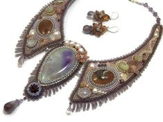 Bead  embroidery necklace and earrings set. by MilenasBoutique, $380.00