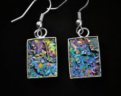 Fields of Roses, Bismuth Metal Crystal Earrings, Iridescent dangle hanging Unique Jewelry