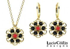 Jewelry Set: Pendant and Earrings Designed by Lucia Costin with Twisted Lines, Garnished with Red and Black Swarovski Crystals; 24K Yellow Gold over .925 Sterling Silver; Handmade in USA Lucia Costin. $105.00. Style takes wings in this lovely jewelry set that have a graceful flower shape. Handmade in USA unique jewelry set. Floral design accompanied by cute details. Garnished with light - siam and black Swarovski crystals. Set of jewelry designed by Lucia Costin