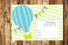 Digital Birthday Party Invitation~Digital Hot Air Balloon Birthday Party Invitation~Hot Air Balloon Birthday Party Invitation~Balloon Invite by AbushelandapecCrafts on Etsy