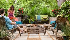 Temporary solution for the backyard?     Stone and gravel patio with fire pit.