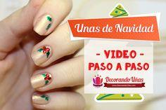 Uñas decoradas para Navidad – Christmas Nail art DIY – Video tutorial paso a paso | Decoración de Uñas - Manicura y Nail Art