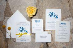 Navy Blue and Yellow Invitations from Wedding Paper Divas // John & Joseph Photography