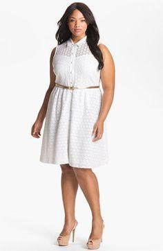 Calvin Klein Belted Cotton Eyelet White  Shirtdress (Plus) | Nordstrom