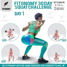 This Squat Challenge Will Transform Your Butt in 4 Weeks. Challenge yourself to master these 4 squat moves. Fun Workouts, At Home Workouts, Best Fat Burning Workout, 30 Day Squat Challenge, Academia Fitness, Abdominal Exercises, Flexibility Workout, Butt Workout, Workout Programs