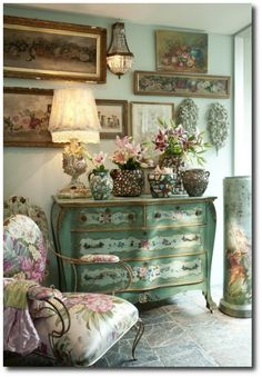 Feminizing Your Décor: Painted Furniture Ideas For The Woman At Heart Lovely Green Floral Prints With A Italian Painted Chest – PAINTED FURNITURE