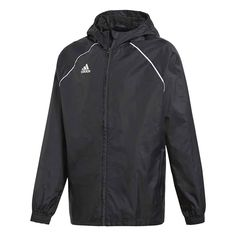 adidas Rain or shine, the game goes on. Seal out wet weather with this rain jacket. It's made of strong woven material with a breathable mesh lining. The hood keeps you covered on the sidelines while elastic cuffs help seal out the chill. Raincoat Outfit, Hooded Raincoat, Stan Smith, Adidas Logo, Boutique Adidas, Nike Jacket, Rain Jacket, Waterproof Coat, Smaller Thighs