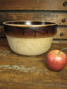 Fine Old Vintage COOK-RITE Stoneware Pottery Mixing Bowl  #HannahsHouseAntiques #Pottery  http://www.rubylane.com/item/497177-9136/Fine-Vintage-COOK-RITE-Stoneware