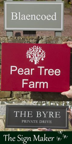 Painted House Signs from The Sign Maker. These house signs can be made in all shaped and sizes and in a huge range of colours and fonts. They can have a frame around the edge or be fixed to posts. Ideal as house signs, farm signs or business signs.
