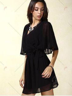 Stylish V-Neck Short Sleeve Lace Splicing Wrap Dress For Women