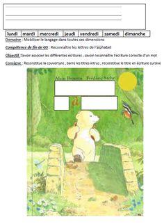 Travail sur le titre et la couverture de Calinours va à l'école Grande Section, Album, Ms Gs, Conte, Nursery School, Card Book