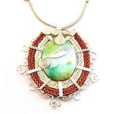 "Silver and Copper Peruvian Opal ""Qora"" Necklace by designer Coco Paniora Salinas of Rumi Sumaq"