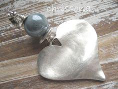 Anhänger  Herz  Keramikperle von chrissona auf DaWanda.com