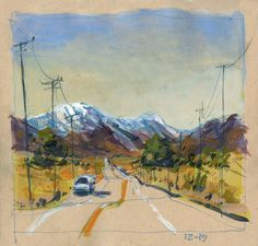 Setting off on the journey home.driving through Morongo Valley in the Mojave Desert. Inktense pencil and Yasutomo opaque watercolor on tan paper Travel Sketchbook, Art Sketchbook, Water Sketch, Pole Art, Toned Paper, Urban Sketchers, Sketchbook Inspiration, Cool Landscapes, Day Trips