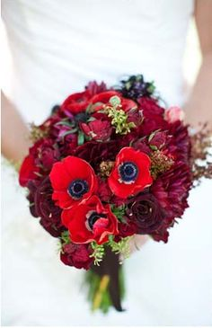 So many bouquets...Love the flower with the black center