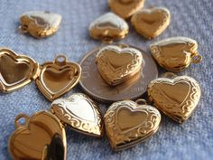 Hinged HEART Lockets Charms Gold Tone Hearts by Beadgarden55, $6.00