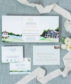 custom venue watercolor wedding invitation, trifold design, gold foil by Wouldn't it be Lovely