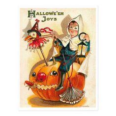 Halloween Joys little boy on a big pimpkin Postcard - boy gifts gift ideas diy unique