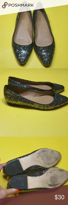 Super Jewel toned Glittery Sparkling Talbots Shoes These are super fun and sparkling with full jeweled colored glitter all over them.  A great quality Talbots shoe!  These are size 7 W! Talbots Shoes Flats & Loafers