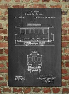 Streetcar Poster Streetcar Patent Streetcar Print Streetcar Art Streetcar Decor Streetcar Wall Art Streetcar Blueprint