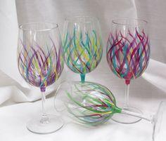 hand painted wine glasses. Kitchen tableware home decor design DIY