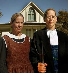 """America's """"Pie Lady,"""" Beth Howard, moved into the iconic Grant Wood American Gothic House last month in Eldon, IA (pop 900.) She plans to sell pies out of a  food cart while visiting homemade pie bakers around the country for her books, TheWorldNeedsMorePie.com. The original portrait,1930, depicts the artist's sister, Nan, and his pitchforkwielding dentist. by Kyle Munson, desmoinesregister. Photo by John Gaps III/The Register.  #Grant_Wood #Kyle_Munson #Beth_Howard #desmoinesregister #Pies"""