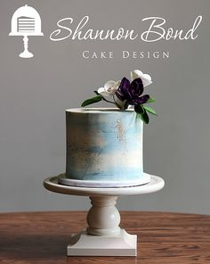 Watercolor Buttercream Cake with sugar flowers by Shannon Bond Cake Design www.sbcakedesign.com
