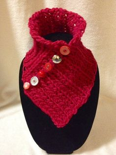 Hand Crocheted Red Neck Cowl-Scarf-Warmer. 100% by TwistedTatters