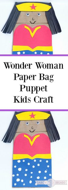 Love this idea for a kids birthday party! Do your kids love superheroes? They'll have a blast making this Wonder Woman paper bag puppet project. It's an easy craft for kids that inspires creative play too!