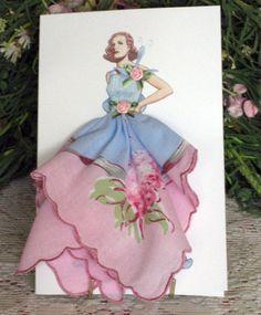 1925 Rochas Taffeta Dress Keepsake Hanky Card by onceuponahanky, $10.00