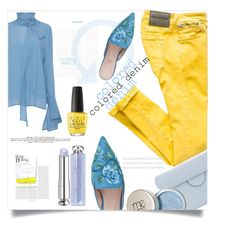 Colored Denim by evachasioti on Polyvore featuring Marni, Alberta Ferretti, Roksanda, Christian Dior, OPI, coloredjeans and polyvorecontest