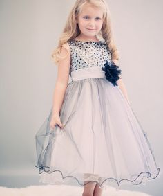 Another great find on #zulily! Silver & Black Sequin-Overlay Dress - Toddler & Girls #zulilyfinds