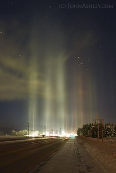 "Light Pillars in Montana, USA | Earth Science John: ""On my 04:30 a.m. drive home from comet chasing this morning, I just had to pull over and photograph the light pillars over a local gas station."""