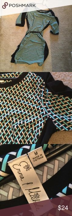 Long sleeved green and black dress Size medium approx size 8                          Like new in great condition! Emma Michele Dresses Long Sleeve