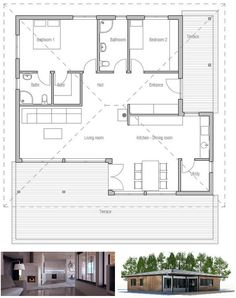 Small House with two bedrooms. Open planning, big windows, covered terrace. Small home design to tiny lot. Floor Plan from ConceptHome.com