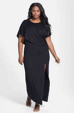 Loveappella Capelet Overlay Jersey Maxi Dress (Plus Size) available at #Nordstrom