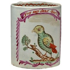 Antique Staffordshire pottery mug For My Dear Girl. Antique Pottery, Pottery Mugs, Antique China, Vintage China, Childrens Mugs, Staffordshire Dog, English Pottery, Curious Creatures, Animal Paintings