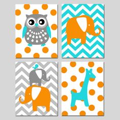 Boy Nursery Idea- Orange, blue and grey Modern Nursery Quad  Set of Four 11x14 Prints  Kids by Tessyla, $75.00