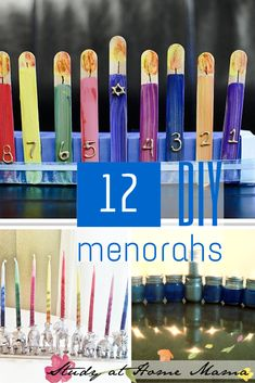 12 DIY Menorahs -- some ideas for the kids to make, and a couple more elegant options. A great way to get children involved (or learn about) Hanukkah. Hanukkah Crafts, Jewish Crafts, Hanukkah Decorations, Hanukkah Menorah, Hannukah, Happy Hanukkah, Holiday Crafts, Holiday Fun, Holiday Ideas