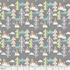 """One Yard Artic Tree Grey Fabric  Baby its cold outside! The Snow Day Collection is a chilly winter wonderland featuring paraders of polar bears, penguins, seals and fish in blue, pink and grey. Cozy igloos, snowy forests and versatile triangle prints will provide endless sewing possibilities.  Collection: Snow Day Designer: Maude Asbury Blend Fabrics 4.8"""" Repeat 44 Wide 100% Cotton Fabric Multiple yards purchased will be cut as one piece of fabric"""