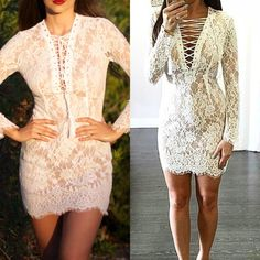 CLOSE OUT! White Lace-up Dress *Only 2 left!! ** Lace up tassel front dress in white. Wear laces open or closed. Delicate lace overlay with scalloped hemline. Fully lined with stretch fabric. SML & LRG left! Indicate what size you'd like for separate listing. NO TRADES. Dresses