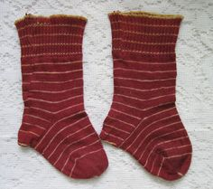 Cutest Ever Antique Dollie Baby Red Striped Socks Gathered Edge
