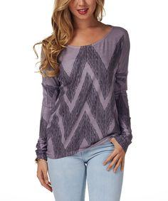 Look at this #zulilyfind! Purple & Gray Zigzag Boatneck Top by Pinkblush #zulilyfinds