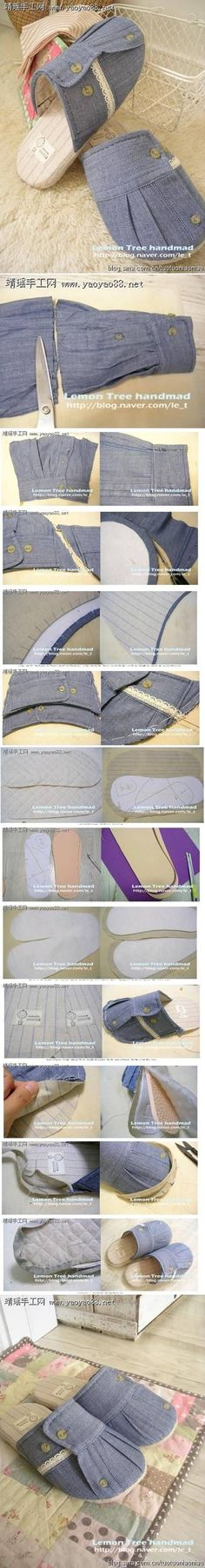 faire des chaussures avec de vieux vêtements http://www.fabdiy.com/diy-making-slippers-from-old-clothes/