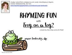 In this rhyming resource you will find materials you can use as a companion to the book Frog on a Log?, but they can be used without the book, as well, in your phonological awareness tool kit:Picture cards (36 total) with rhyming pairs can be used for a Memory-type card game Pocket flaps (25) for interactive notebooks (or just use plain paper) give students practice with the animals in the book and their rhyming places to sitMatching rhyming pairs worksheets (2)Game boards - some have…