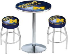 Michigan Wolverines D2 Chrome Pub Table Set. Available in two table widths.  Visit SportsFansPlus.com for Details.
